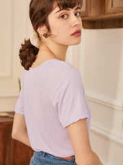 Alison U-neck T-shirt-Purple