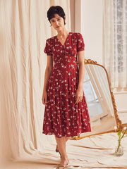 Louna Floral Dress-Red