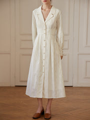 Victoria 100% Cotton Embroidery V-Neck Shirt Dress