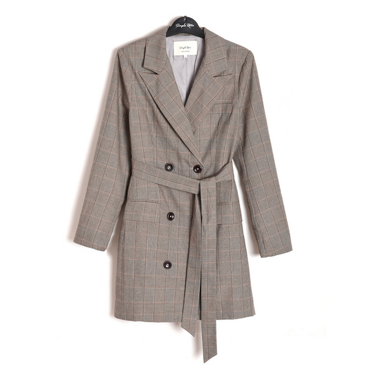 Heloise Double Breasted Blazer Dress - Brown Plaid & Black