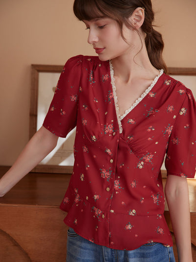 Claire Floral V-Neck Shirt/Simple Retro/11194