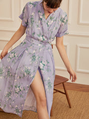 Alice V-Neck Purple Floral Dress