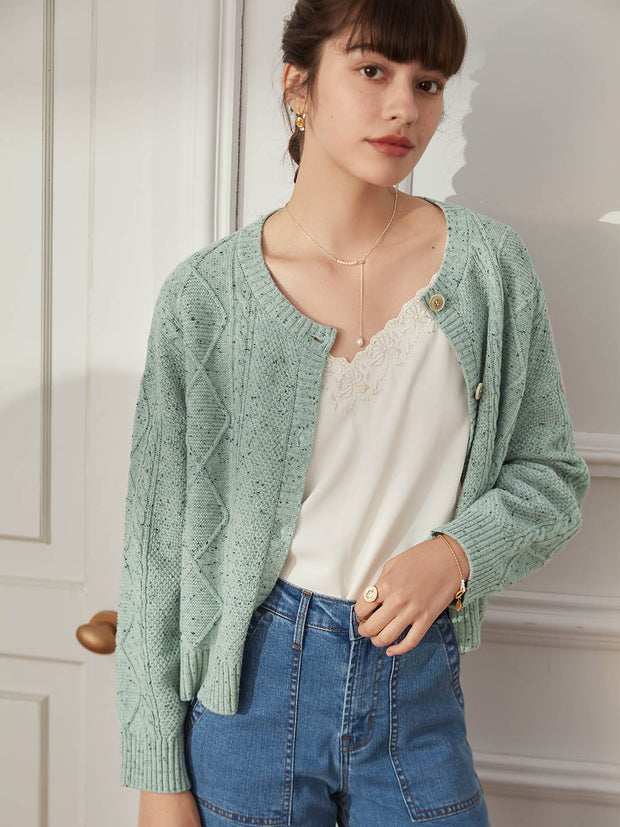 Bella 100% Wool Cardigan-Matcha Green