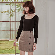 Lila Brown Plaid Skirt