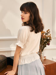 Kitty Bow Puff Sleeve Tops