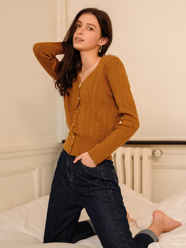 Anna Knitting Cardigan - Brown