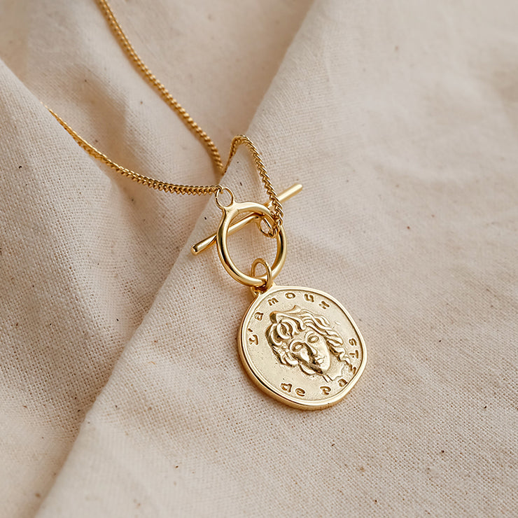 Gold Coin Silver Necklace