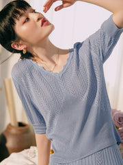 Patricia Icy Silk V-Neck Blouse-Gray Blue