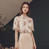 2019 New Summer Shirt Georgette Stand Collar Floral Printing Niche Temperament Light Ripe Show Thin