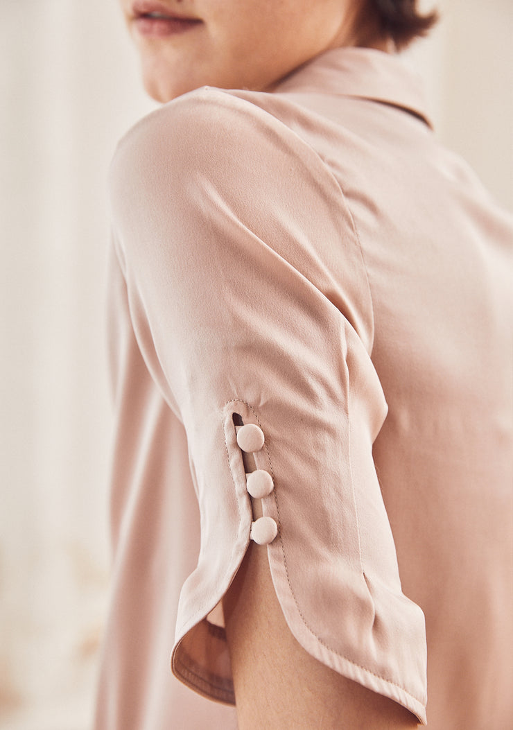Felicia Pearl Buttons Satin Blouse