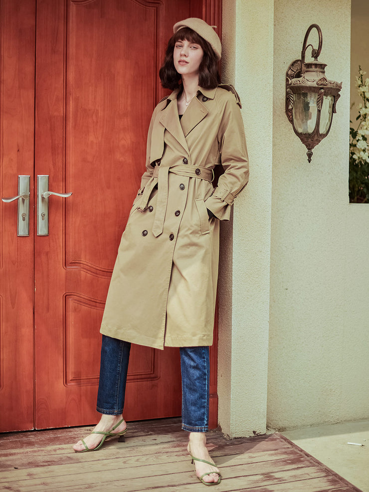 Alice Classical Double Breasted Cotton Trench Coat