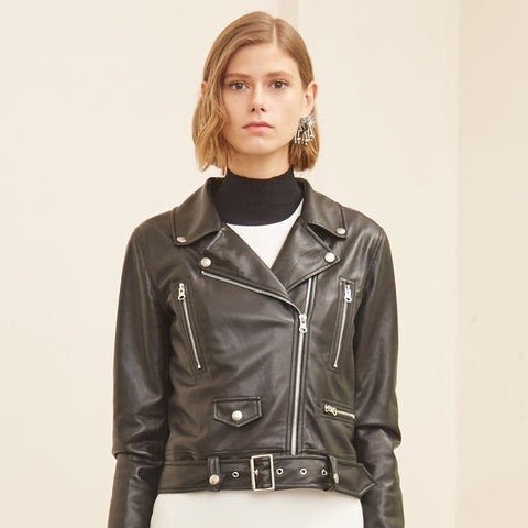 Retro Slim Sheepskin Leather Jacket