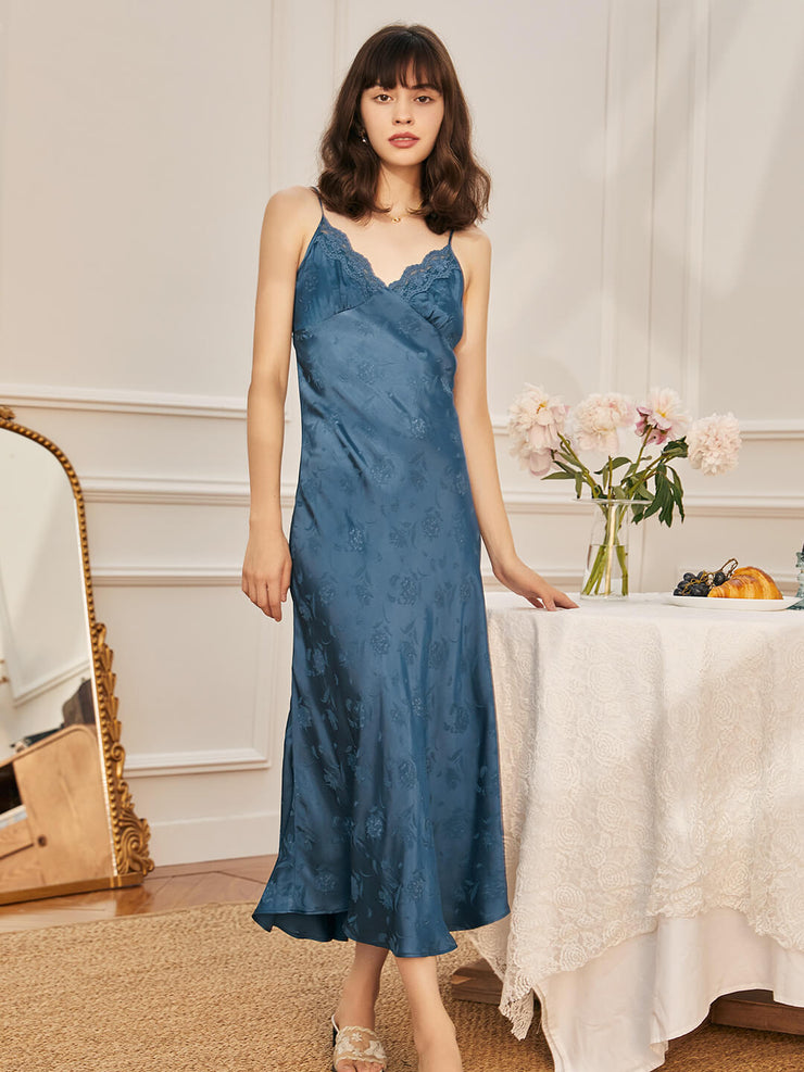 Cora V-Neck Blue Slip Dress-Long