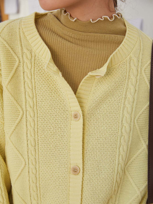 Bella 100% Wool Cardigan-Bright Yellow