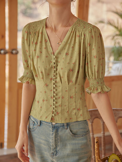 Rosalina Floral Pleated Shirt/Simple Retro/55055