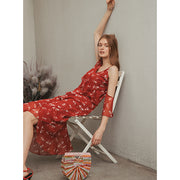 Lina V-Neck Printed Chiffon Dress