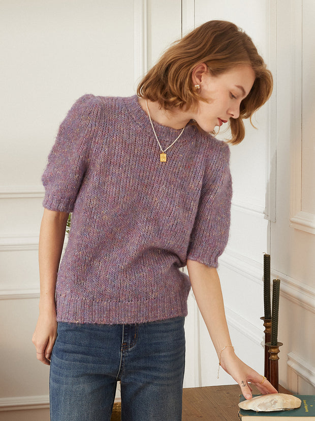 Amy Puff Sleeve Jumper-Purple