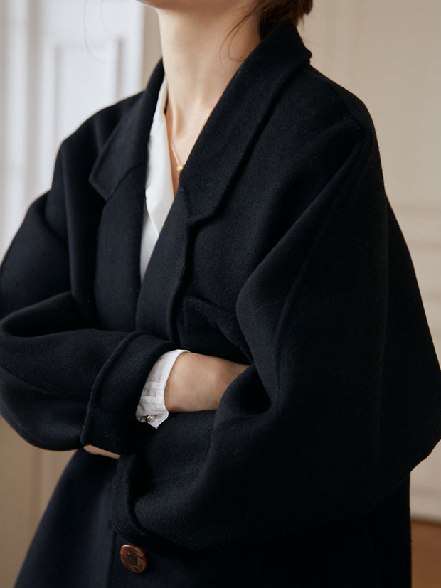 Alyssa Wool Coat-Black