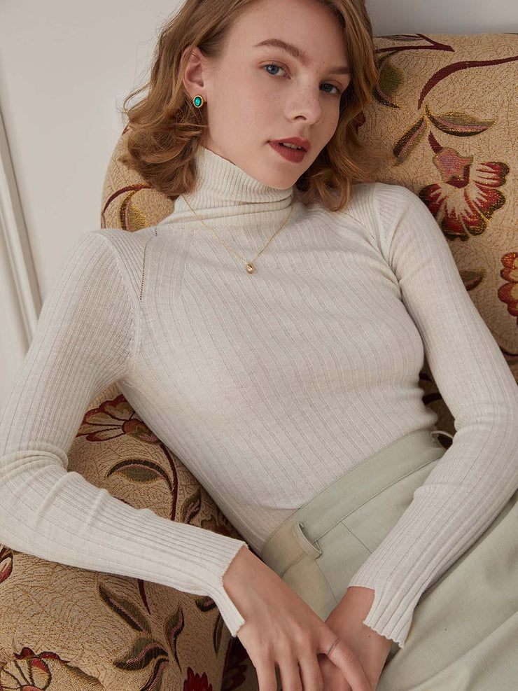 Vicky 100% Wool Turtleneck Sweater-Beiges