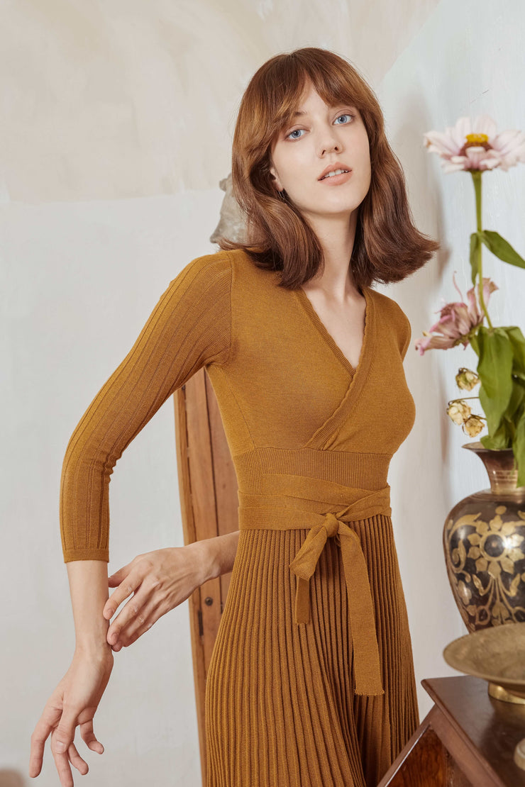 Emma Wool Dress - Chestnut Brown