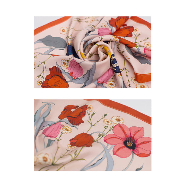 Chowxiaodou 16 Momme Tulip Tilk Twill Large Square Towel 90*90