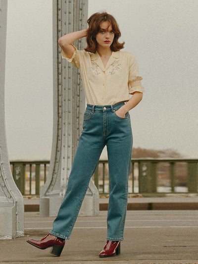 Kira High-Waisted Straight Jeans/Simple Retro/1210047