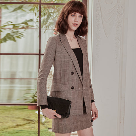 2019 New Autumn Suit Coat Simple Retro French Tall Waist Show Thin Suit Coat Plaid