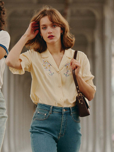 Alicia Embroidery V-Neck Blouse/Simple Retro/1200022
