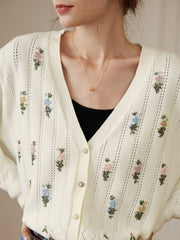 Ally Handmade Embroidery Knitwear-Creamy White
