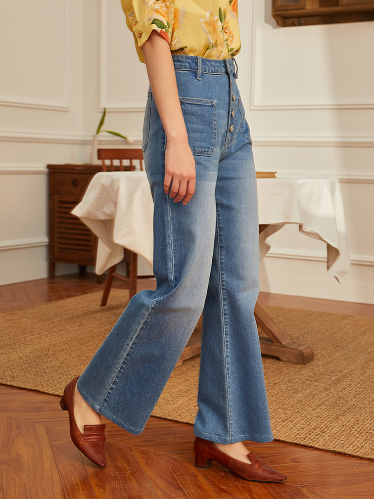 Wide-leg High-rise Jeans