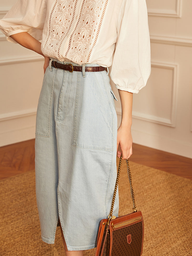 High-rise French Denim skirt