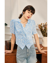 Pag Floral Blouse-Blue