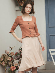 French high waist fishtail skirt