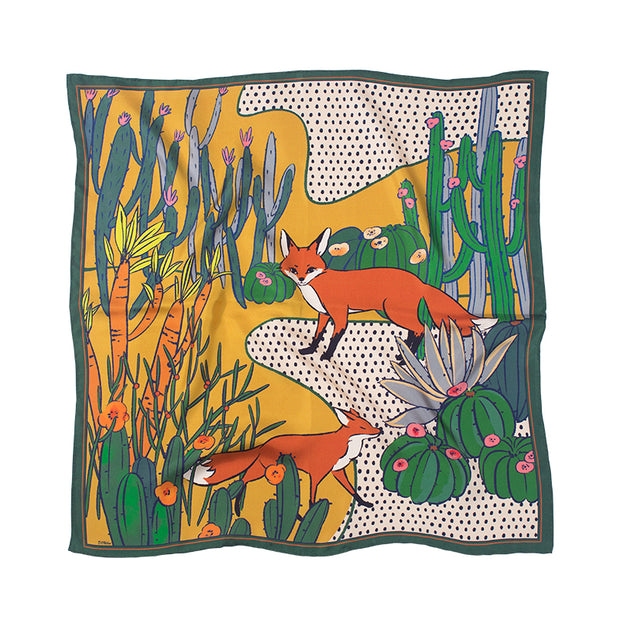 Chowxiaodou 16 Momme Fox Silk Twill Small Square Scarf 65*65