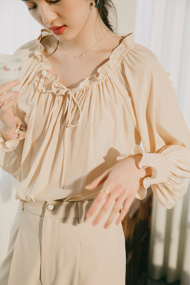 Ailie Yellow V-Neck Blouse