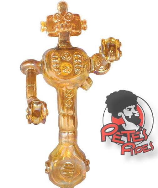Red Eye Glass Robot Pipe, [marijuana], [cannabis], [PetesPipeShop]