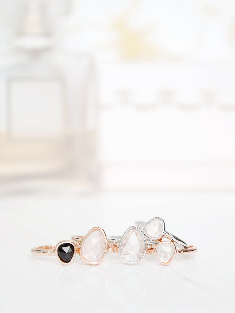 Black Onyx and Rose Quartz Bezel Stack Rings - Manhattan Collection by Trouvee.Co