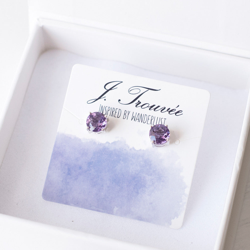 Glittering Stud Earrings - Amethyst