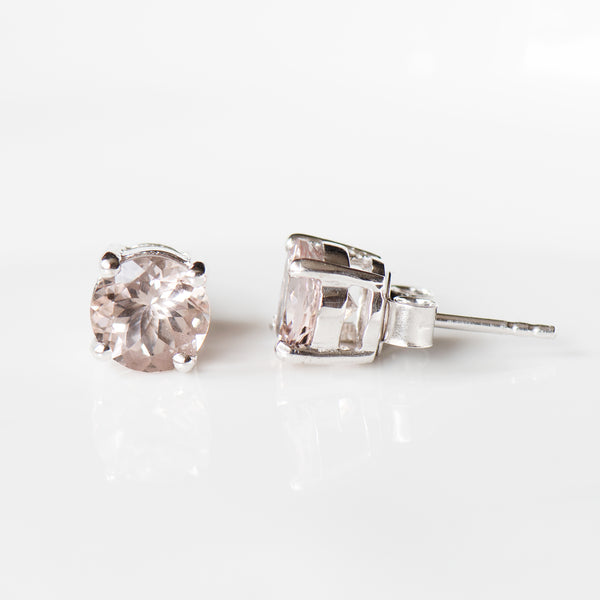 """Aurélie"" Blush Morganite Stud Earrings"