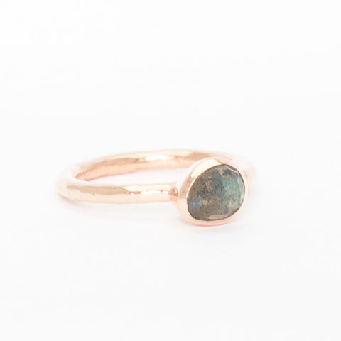 'Belle' Labradorite Bezel Ring - Rose Gold