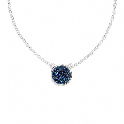 Midnight Blue Drusy Bezel Necklace