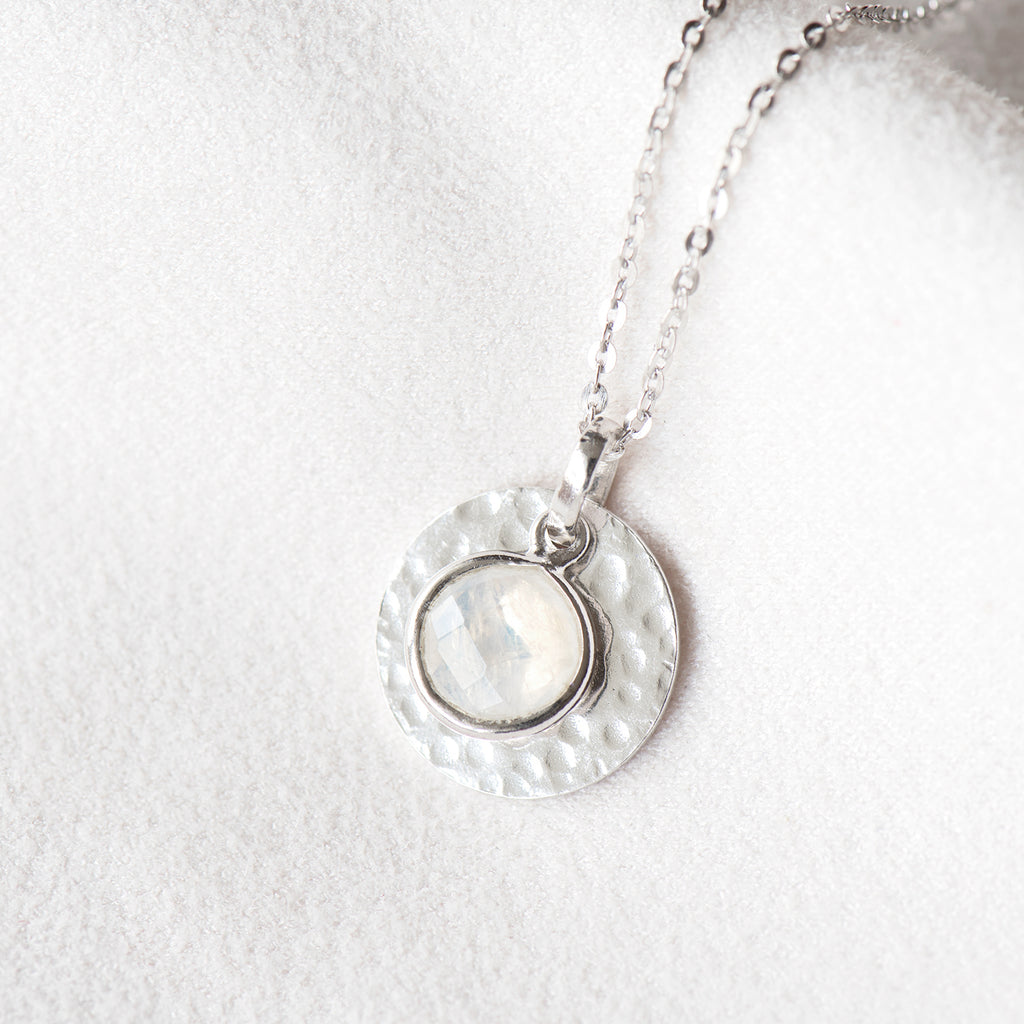 """Carrie"" Rainbow Moonstone Hand Hammered Disc Necklace"