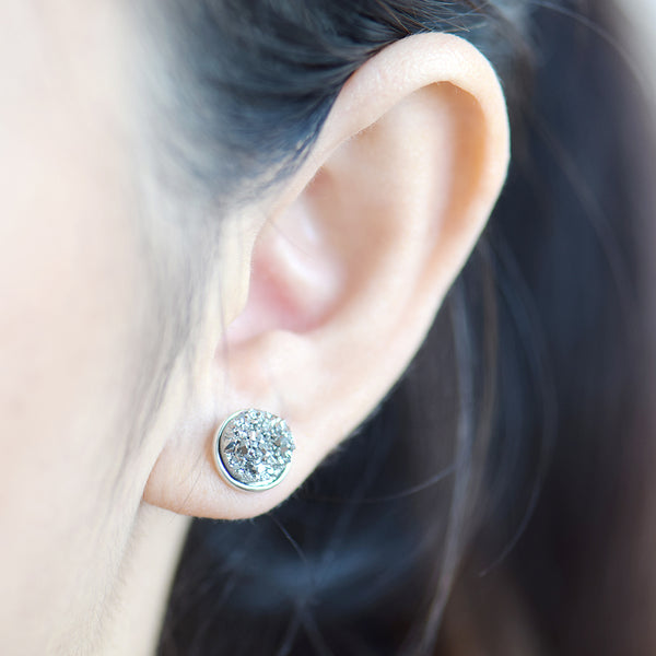 Solitaire Silver Drusy Stud Earrings