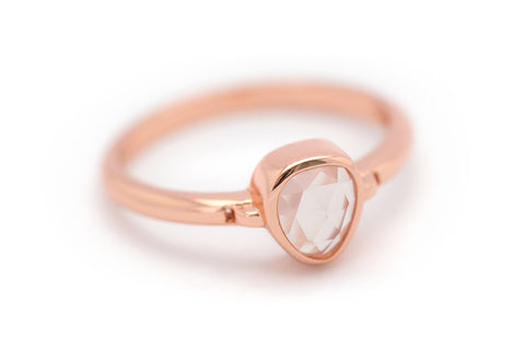 """Lolita"" Rose Quartz Bezel Ring - Rose Gold"