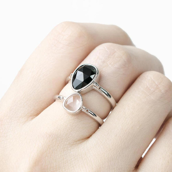 SoHo Black Onyx Bezel Ring - Silver
