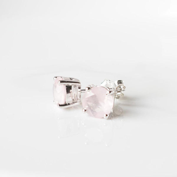 Glittering Stud Earrings - Rose Quartz (Running Low)