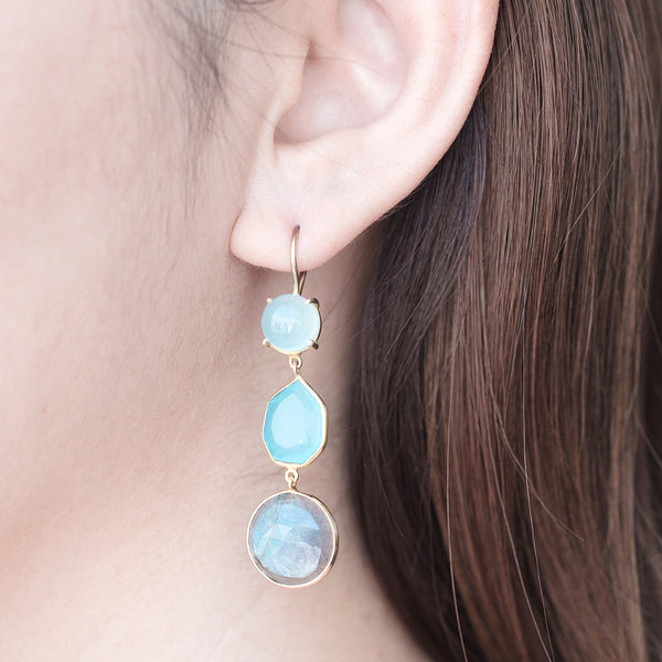 Trilogy Chalcedony and Labradorite Earrings - Rustic Gold