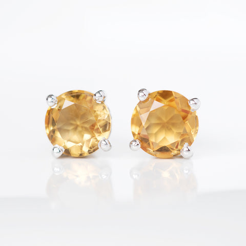 Glittering Stud Earrings - Citrine
