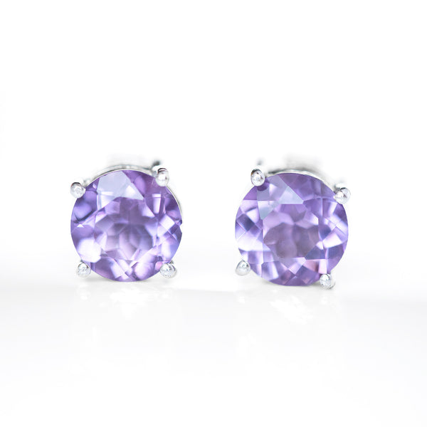 """Jeanne"" Amethyst Stud Earrings"