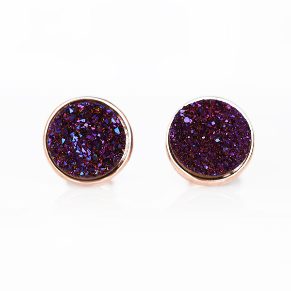 Deep Indigo Drusy Stud Earrings